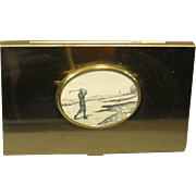 Vintage Business Card, Credit Card Case, Old Golfer Scene, Goldtone Finish
