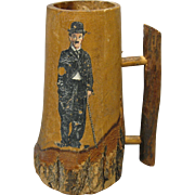 Circa 1920 Wooden Mug with Image of Charlie Chaplin