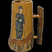 Circa 1920 Wooden Mug with Image of Charlie Chaplin
