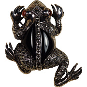 Large Sterling Frog Pin With Marcasites, Onyx, and Red Stone Eyes Vintage