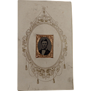 Tiny Gem Tintype in Carte de Visite Mount Civil War Era Circa 1860's