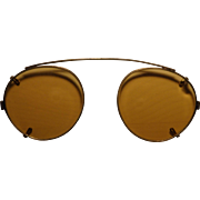 Vintage Yellow Lens Clip On Sunglasses