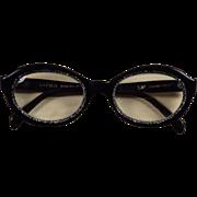 Vintage Italian Eyeglass Frames Black w/ Rhinestones  Safilo