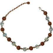 Vintage Crystal and Brass Filigree Beads Choker Necklace Ice Blue