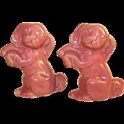 Vintage Rosemeade Dusty Rose Begging Puppy Salt & Pepper Shakers