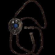 Vintage Alpaca Bolo Tie with Blue Stone