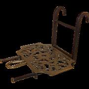 Sliding Brass Trivet, Wrought Iron Base, Hanging Hooks, Signed c. 1800