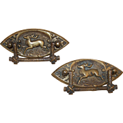 Rare, Original Circa 1900 Pair Brass Drawer Pulls, Running Deer in Raised Relief