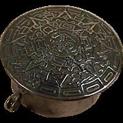 Estate Trinket Box Pill Box Mexico Alpaca w/ Mayan Calendar Lid