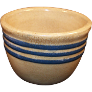 Vintage Yellowware Custard Cup with Blue Stripes
