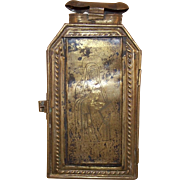 Rare 18th Century Brass Candle Lantern, Engraved Image St. Teresa of Avila