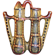Kabyle Pottery Double Vessel or Pitcher, Intricate Geometric Designs Circa 1900