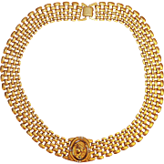Stunning Vintage Goldtone Choker with Wide Link Chain and Cameo w/Rhinestones