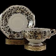 Occupied Japan Cup & Saucer Set w Ardalt Brass Holder ~Mythical  Pattern