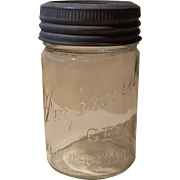 Early Improved Gem Pint Canning Jar Canada w/Original Lid, Ring, & Glass Lid