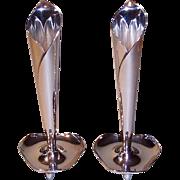 "Hans Jensen Denmark Calla Lily Candlesticks 6 3/8"" Silverplate Mid Century 1950's"