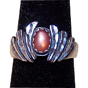 Sterling Ring with Orange Stone Signed WM ~ Size 8