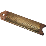 Hand Punched Brass Grater Mounted on Wood 19th Century Primitive Food Grater