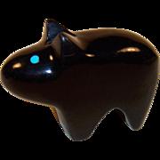 Jet Black Bear Fetish with Turquoise Eyes