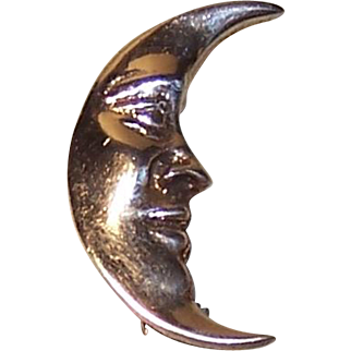 Stylish Sterling Man in the Moon Pin - 4.5 grams