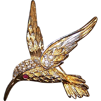 "Hummingbird Pin with Rhinestones and ""Ruby-Red""  Eye"