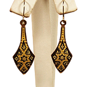 Estate Damascene Toledo Dangle Earrings