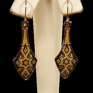 Estate Damascene Toledo Dangle Earrings