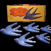 1960s Five Piece Pin-Up Bird Set, Wall Hangers, Original Box, Meier & Frank