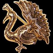 Vintage Damascene Peacock Brooch