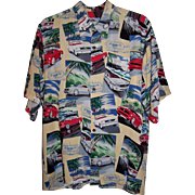 Vintage Hawaiian Shirt Ford Mustang Reyn Spooner ~ Size Large ~ Excellent!