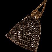 Vintage Whiting & Davis Black & Gold Metal Mesh Evening Bag w/ Gate Top Closure
