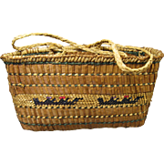 Makah Basket with Handles, Whaling Canoe and Duck Designs Early 1900's