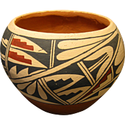 "Jemez Pueblo Polychrome Pottery Pot, Signed ""A. CHOSA JEMEZ"""