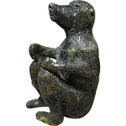 """Vintage African Carved Stone Baboon, Signed """"FREE RAMBANEPASI"""", 6 Inches Tall"""