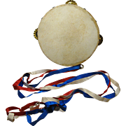 19th Century Tambourine with Red, White, Blue Ribbons, Dated June 3, 1898