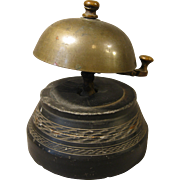 Unusual Hotel Bell, Brass Lobby Bell with Heavy Stone Base, Incised Decoration