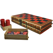 "Book-Shaped Game Board ""Evenings at Home"", Checkers, Backgammon, Game Pcs  c.1900"