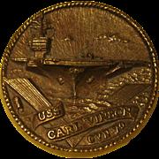 Vintage Brass Medallion, USS Carl Vinson, CVN 70