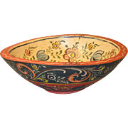 Vintage Wooden Bowl from Holland, Hand-Painted Floral Decorations