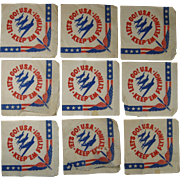 "Nine WWII Home Front Paper Napkins, Let's Go! U.S.A.  Keep ""em Flying!"