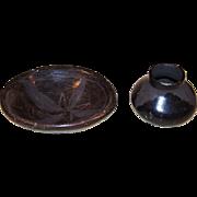 Vintage Mexico Miniature Hand Formed Blackware Black-Matte Pottery Bowl & Olla