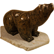 Large Stone Grizzly Bear on Stand ~ Signed