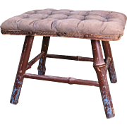 19th Century Victorian Footstool with Tufted Top and Bamboo Legs