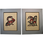 Pair Northwest Coast Signed Prints, Killer Whale & Eagle, Elisabeth Seeger 1978