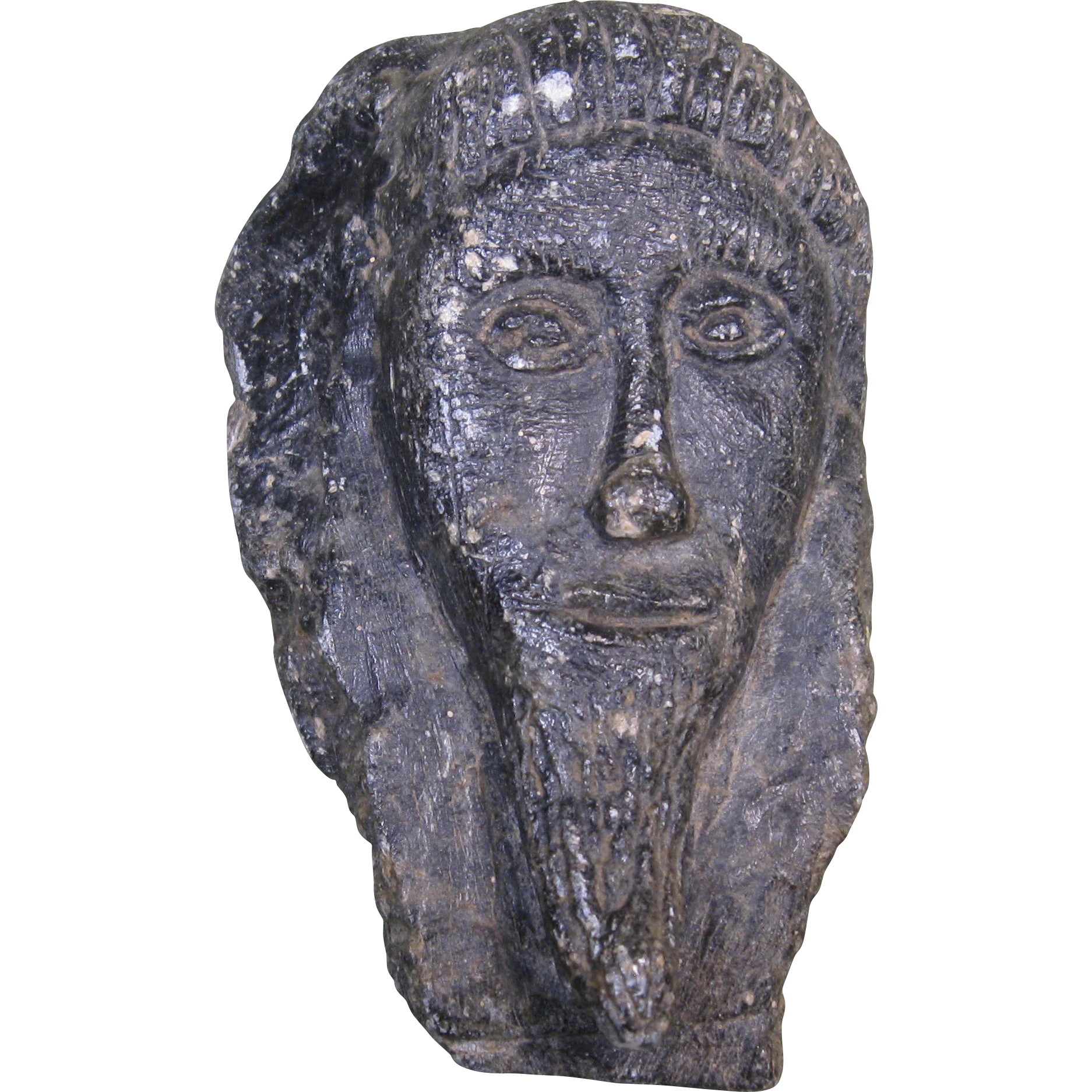 Hand carved soapstone face man with beard raised relief