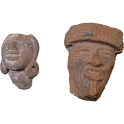 Two Mesoamerica Artifacts - Clay, or Pottery, Faces, Pre-Columbian