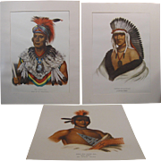 Three 1965 Penn Prints - Native Americans - Ioway, Pawnee, Musquakee