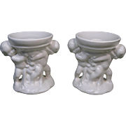Pair Red Wing Candle Holders, White Double Cherub, #775