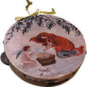 """Victorian 19th Cent. Oil Painting on Tambourine, """"Winter"""""""