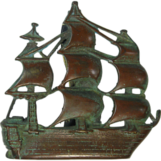 Bronze Figural Door Knocker, 3-Masted Sailing Ship, Early 1900s